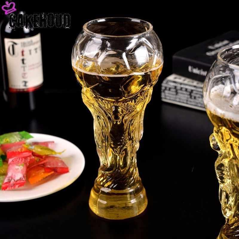 CAKEHOUD Hohe Qualität Neue Welt Tasse Bier Becher 450ml Fußball Modellierung Glas Bier Becher Kristall Whisky Tasse Bar Bier party