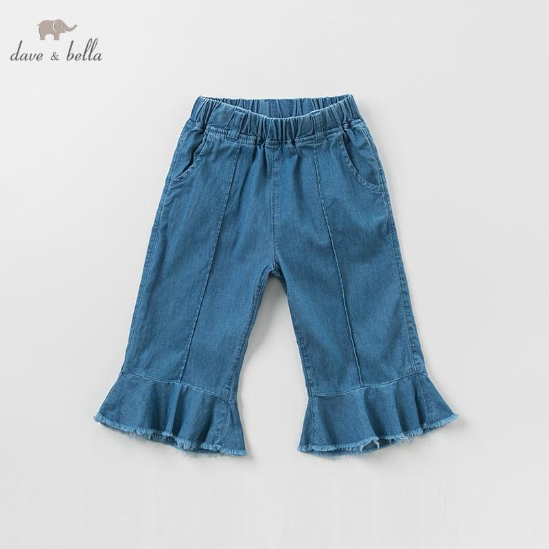 DBK9786 dave bella summer kids girls denim blue  pants children full length pants infant toddler trousersDBK9786 dave bella summer kids girls denim blue  pants children full length pants infant toddler trousers