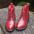 """Cabeça camada de couro puro handmade ankle meio botas curtas, """"Sen fêmea"""" casuais Botas Martin das mulheres, sapatos de Couro Real, 3 cores"""