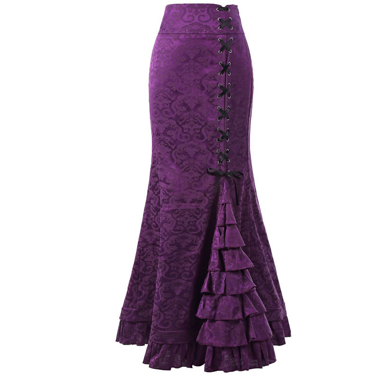 2018 Ladies New Black Women's purple red Lace Long Skirt Party gray Belt Fishtail Length green Sexy Fashion Retro Floor Slim Christmas AAxd7qFr