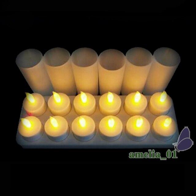 12 teile/satz LED Wiederaufladbare Flammenlose Kerze Nacht Teelicht ...
