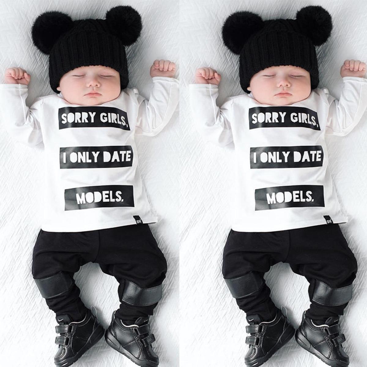 b6bbf68966 2 unids Infantil Del Bebé Infantil Chicos de Manga Larga camiseta Tops  Pantalones Lo Siento Chicas