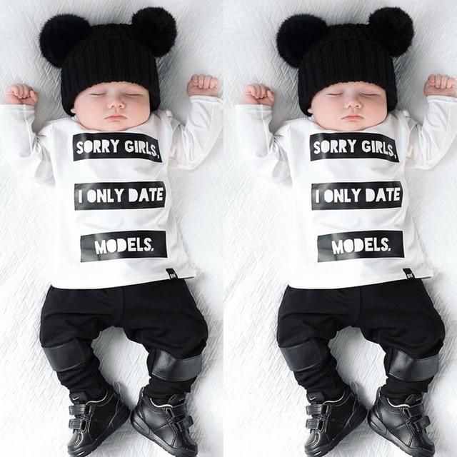 2pcs Infant Baby Kids Boys Long Sleeve T shirt Tops Pants