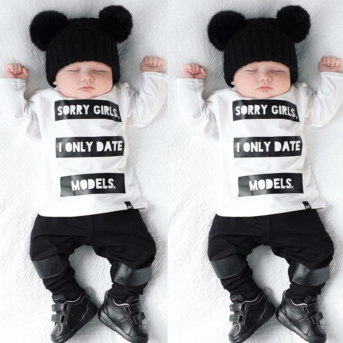 Black t shirt for babies - 2pcs Infant Baby Kids Boys Long Sleeve T Shirt Tops Pants Newborn Outfits Black White Sorry Girls Letter Suit Baby Boy Clothes