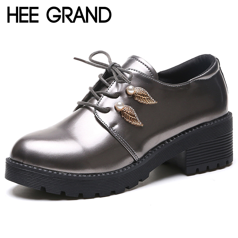 HEE GRAND Platform Women Oxfords Casual Silver Shoes Woman Fashion Lace-Up Square Heels Rubber Women Brogue Shoes XWD6920 hee grand sweet patent leather women oxfords shoes for spring pointed toe platform low heels pumps brogue shoes woman xwd6447