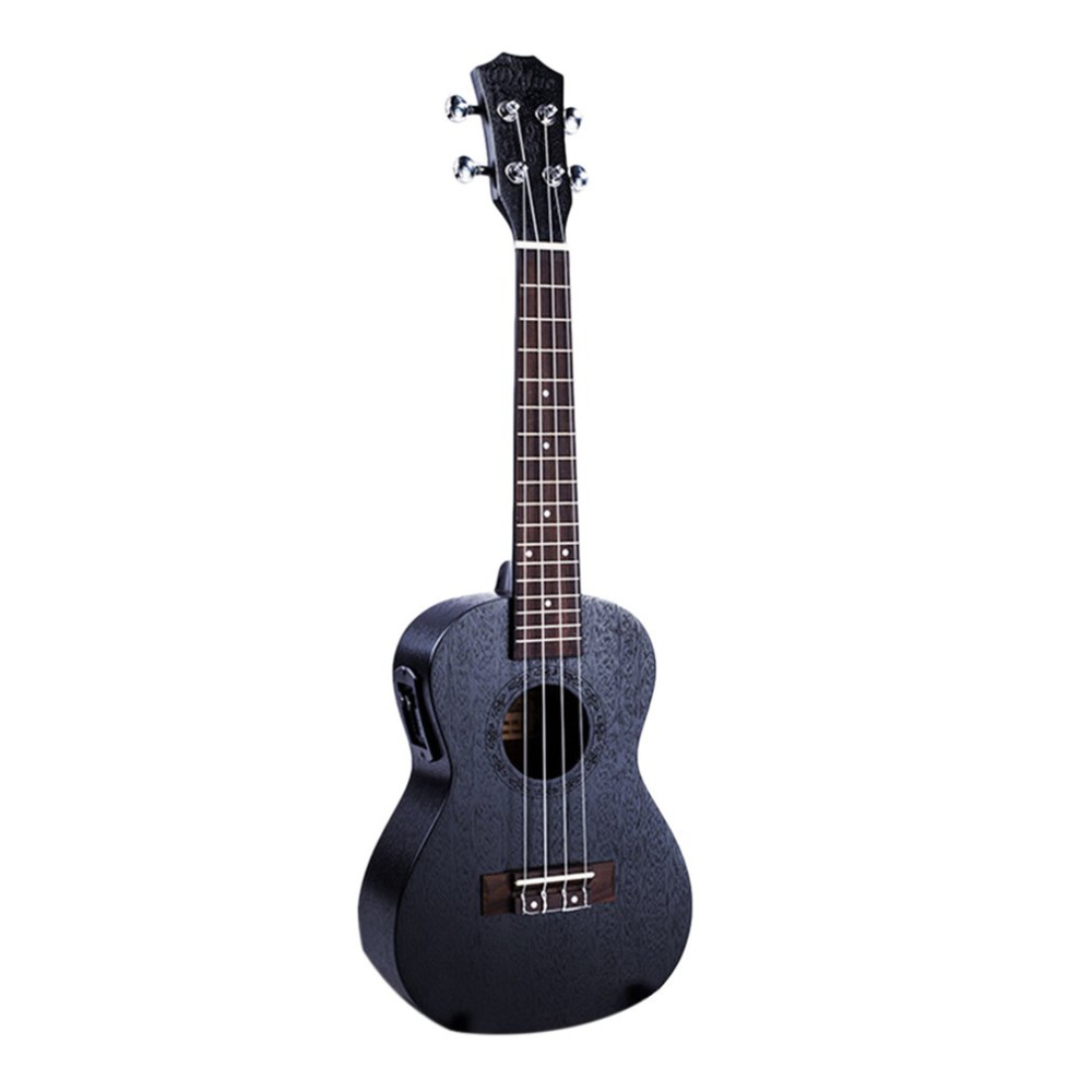 23 Inch Black Electric Concert Ukulele 4 Strings Mahogany Panel Ukelele Uke Hawaii font b Guitar