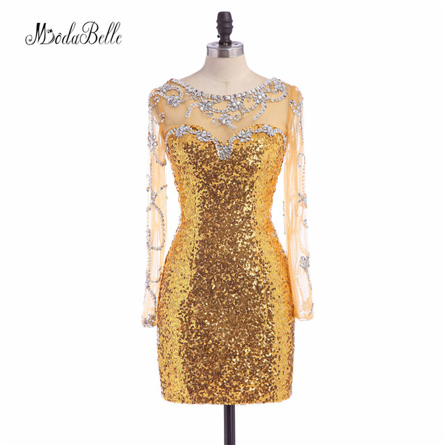 modabelle Elegant Cheap Sequin Gold Cocktail Dresses Open Back Beading Long  Sleeve Short Rhinestone Homecoming Prom Gown 2017 4c5f817d9bf6