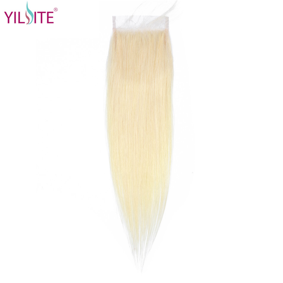YILITE  Blonde Hair Closure 4x4 Free/Middle/Three Part Malaysian 100% Human Hair Straight Color 613 Non-remy Lace Closure