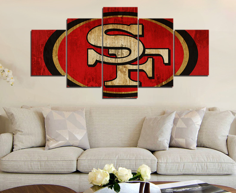 Modular Wall Paintings 5p Sf 49ers Sports Team Logo Fans