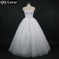 2016 High Quality Sexy Halter Elegant White Lace Wedding Dress Luxury Crystal Vestido Vintage Plus Size