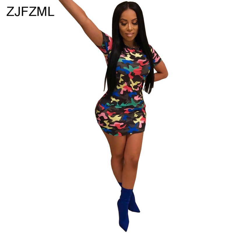 ZJFZML Colorful Camouflage Printed Sexy T Shirt Dress Women Short Sleeve  Sheath Short Robe Summer Casual O Neck Club Mini Dress-in Dresses from  Women s ... 11e56564e744