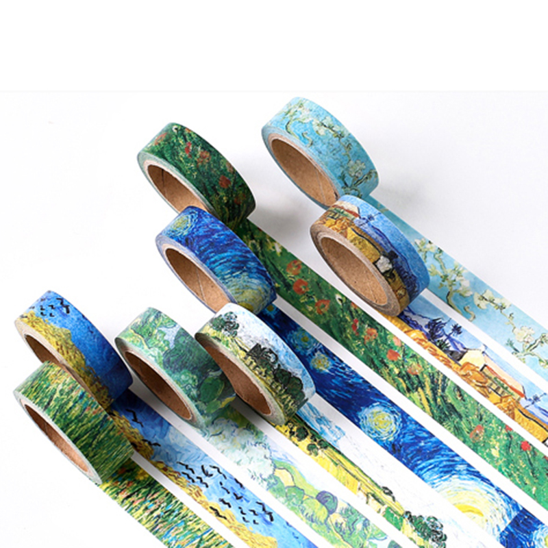 15mm X 7m DIY Van Gogh Painting Paper Washi Tapes Masking Tape Scrapbooking Decorative Stickers Adhesive Tapes School Supplies