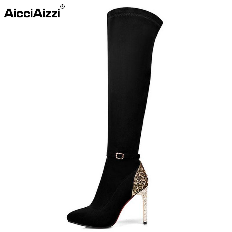 ФОТО Women Boots Genuine Leather Over Knee Boots Sexy Ladies High Heel Pointed Toe Botas Winter Zipper Heeled Women Shoes Size 33-41