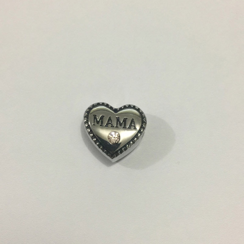 2Pcs Lot Stainless Steel Heart Spacer Beads with MAMA Rhinestones DIY Big Hole Bead for Jewelry Making Fit For Bracelet