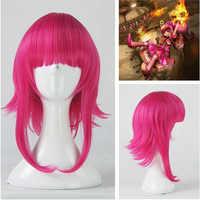 Jeu LOL Annie Hastur personnage 45 cm Rose rouge résistant à la chaleur cheveux Cosplay Costume perruque + casquette de perruque gratuite