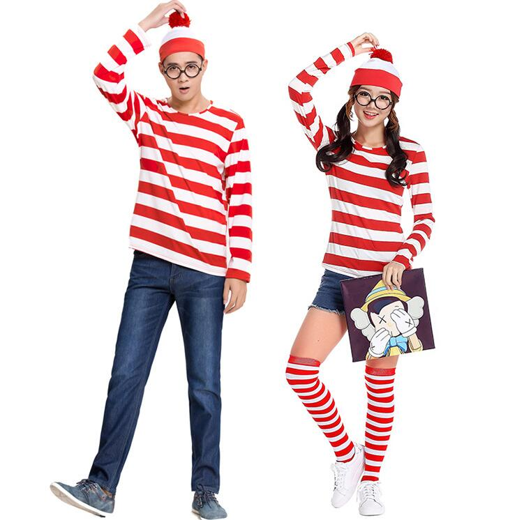 free shipping 2016 new Halloween cosplay costume Wheres Wally men styles Stripe Christma ...