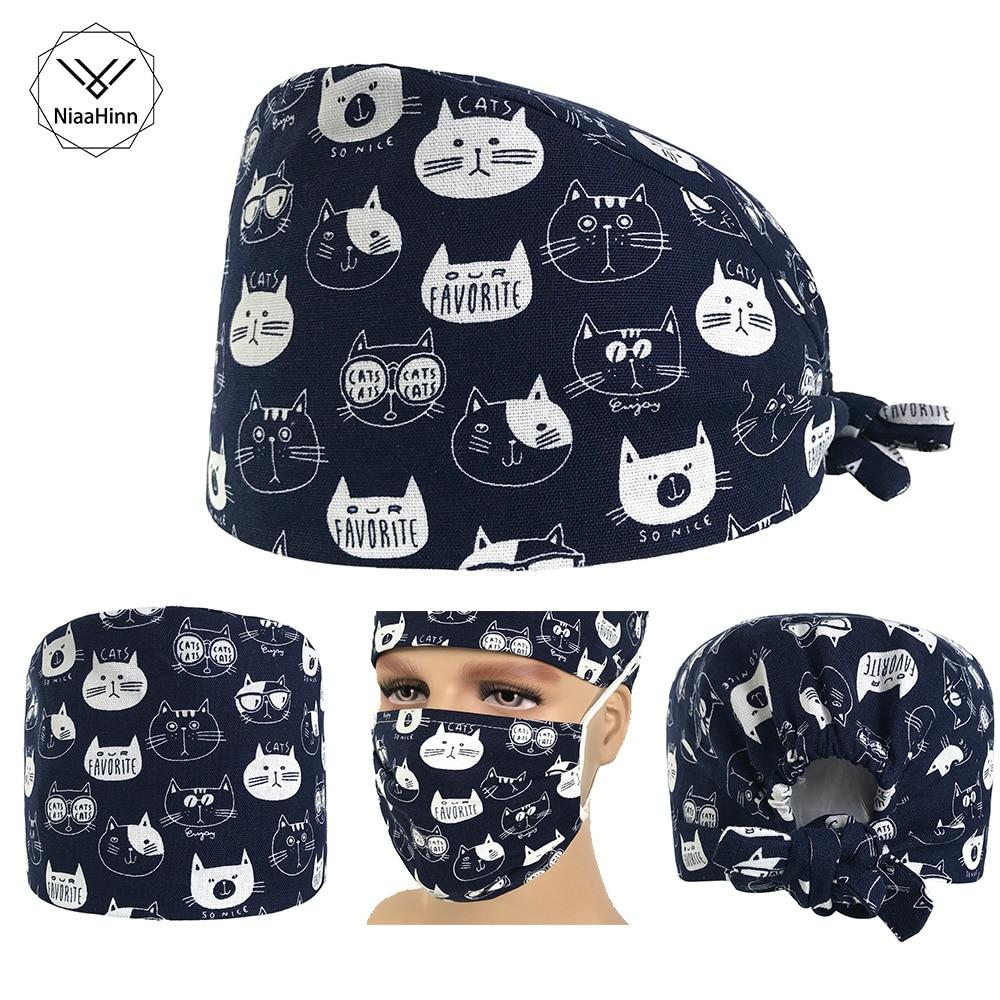 Hospital Surgical Cap Women Men Design Nurse Caps Uniform Adjustable Cartoon Cat Pattern Cotton Doctor Beauty Medical Hats/Masks