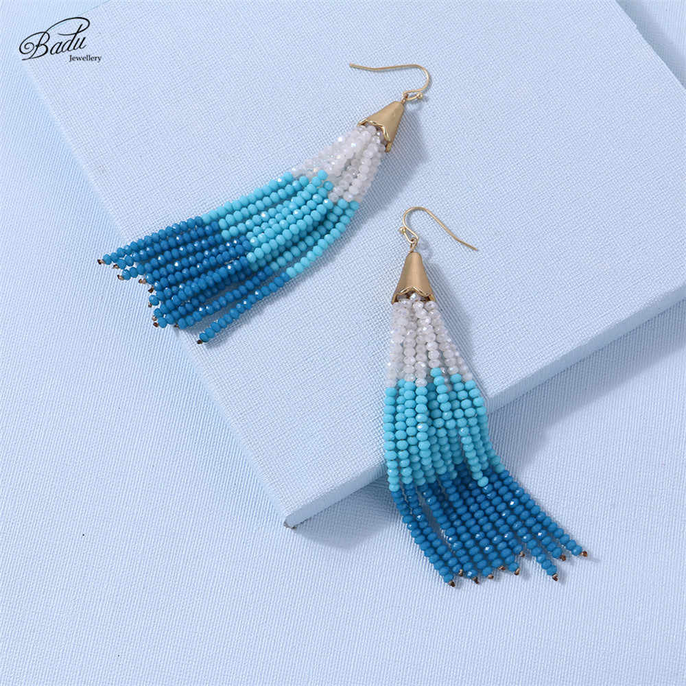 Badu Long Bead Tassel Earring Women Bohemian Colorful Crystals Drop Earrings Ethnic Party Jewelry Gift for Girls Wholesale