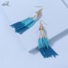 Badu Long Bead Tassel Earring Women Bohemian Colorful Crystals Drop Earrings Ethnic Party Jewelry Gift for Girls Wholesale bfh fashion charm large circle tassel drop earrings for women girl wedding party bohemian long earring jewelry gift wholesale