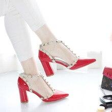 91268ff538 Marca Mulheres Sapatos Rebite sapatos De salto Alto Mulheres Sapatos de  Couro Genuíno com Tira No