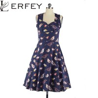 LERFEY Summer Women Dress Vintage Rockabilly Party Swing Elegant Dresses 50s Birds Print Pin Up Dress