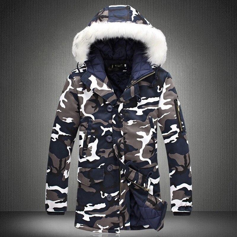 Зимняя мужская куртка, хит продаж 2019, камуфляжная армейская Толстая теплая куртка, Мужская парка, Мужская модная парка с капюшоном, Мужская M 4XL размера плюс-in Парки from Мужская одежда