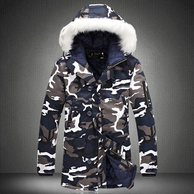 Jaqueta de inverno 2020 venda quente camuflagem do exército grosso quente casaco parka masculino moda com capuz parkas masculino M 4XL mais tamanho