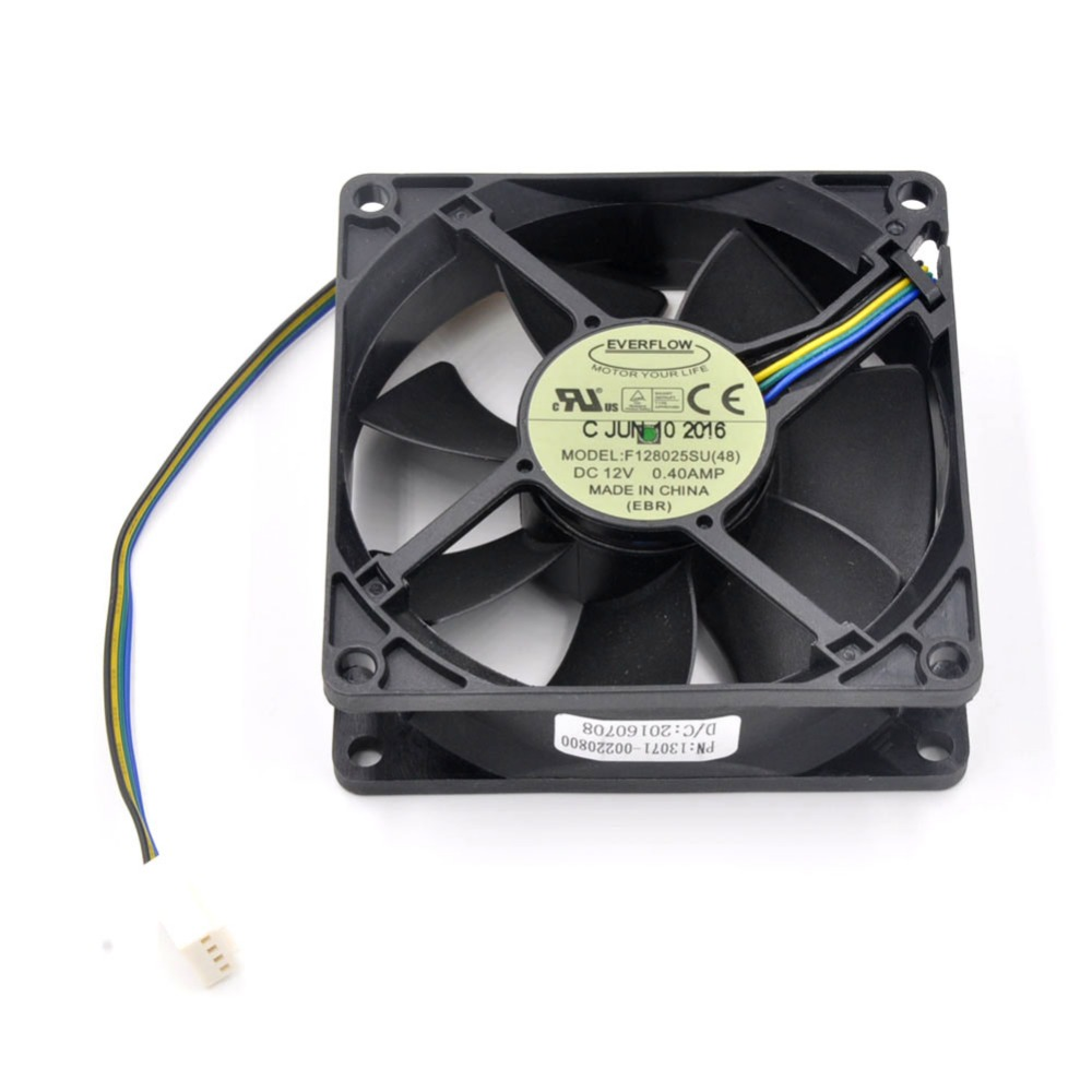 New Original EVERFLOW F128025SU (48) DC 12V 0.4A 8025 80*80*25mm Cooling Fan for Replacement CPU Cooler Computer Network Cabinet original delta tfc1212de 12cm 12038 12v 3 9a 252cfm winds of booster pwm fan violence for bitcoin miner super cooling