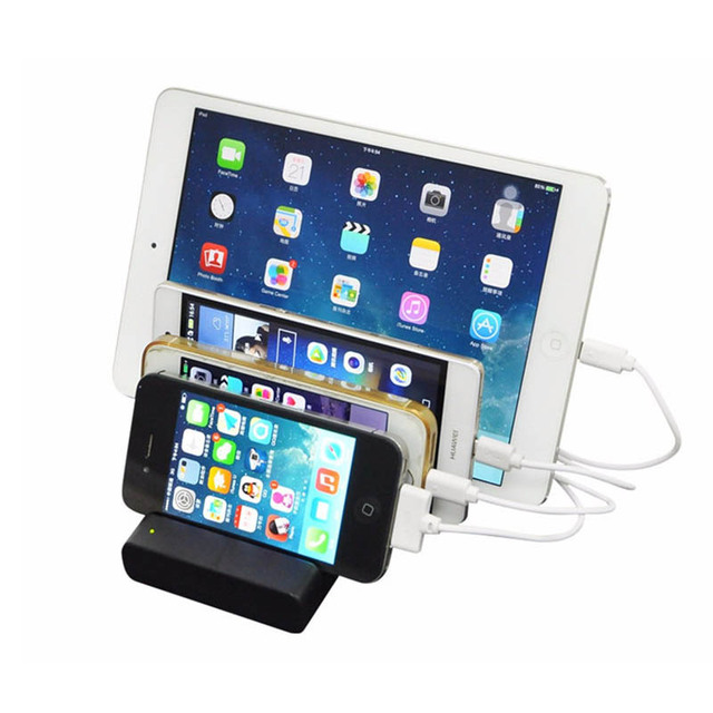 Mobile Phone Charging Station 4 Ports 5v 3 1a Usb Charger Dock With Holder For