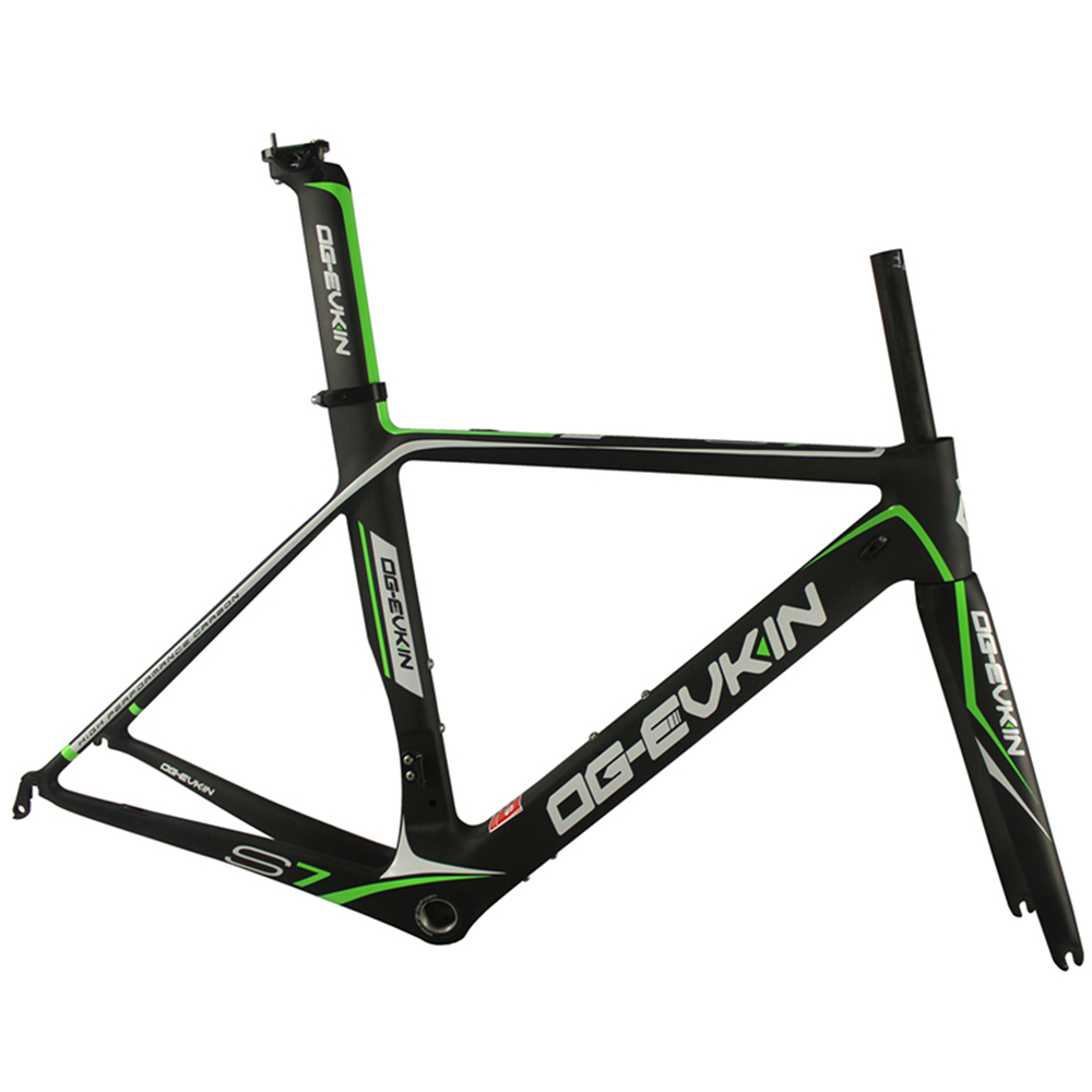 OG-EVKIN Carbon Road Bike Bicycle Frames Ciclismo Quadros BICICLETA UD Matt BB68 Fork Seatpost Clamp Headset Green Black 49CM og evkin carbon road bike aero frame with integrated handlebar bicycle cycling sports parts bb86 di2 max 25mm tire glossy matt
