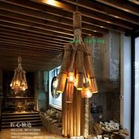 Лампа Эдисона Ретро подвесной светильник бронза Коттедж Стиль бамбука подвесной светильник ткани магазин подвесные светильники ручной ра