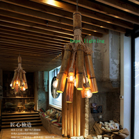edison bulb retro pendant lamp bronze cottage style bamboo pendant lamp cloth shop handmade pendant lights