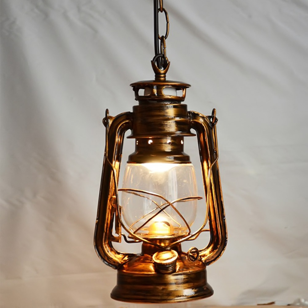 Antique Bronze Europe Retro Classic Kerosene Lantern Pendant Lamp Outdoor Camping Lamp Paraffin Light E27 Pendant