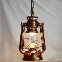 Bronce antiguo de Europa Retro Clásico Lámpara De Queroseno Lámpara de Camping Lámpara Colgante Al Aire Libre de Parafina Luz E27 Luz Colgante Lamparas