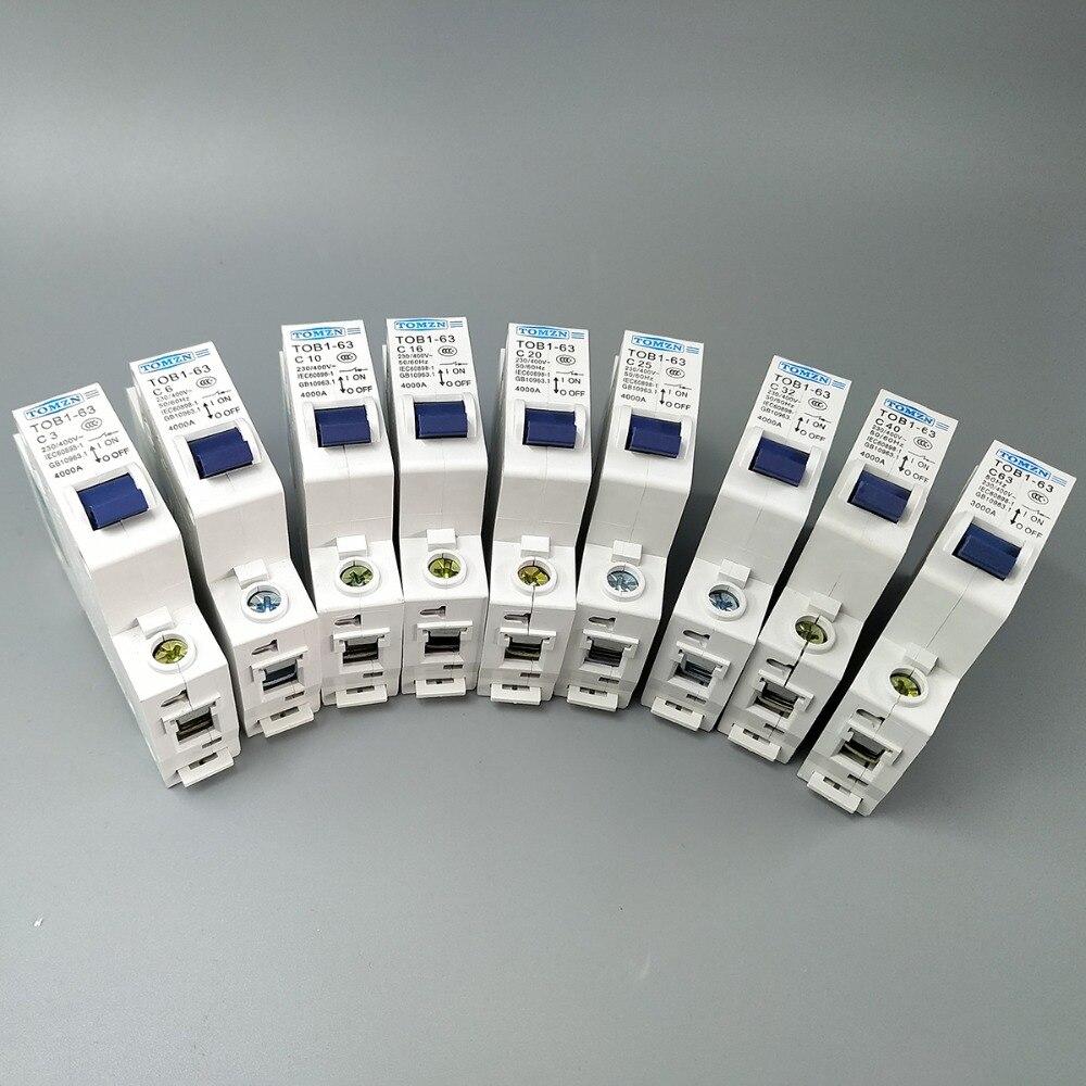 1P AC MCB TOB1-63 C Type 230/400V~ 50HZ/60HZ Mini Circuit Breaker 3A 6A 10A 16A 20A 25A 32A 40A 50A 63A