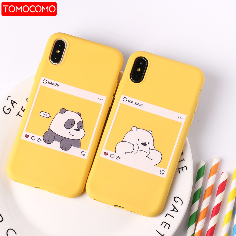 Cute Cartoon Animals Kawaii Bear Panda Pattern Yellow Cases Soft Candy Case Coque For iPhone 6 6S 5S SE 8 8Plus X XS Max 7 7Plus