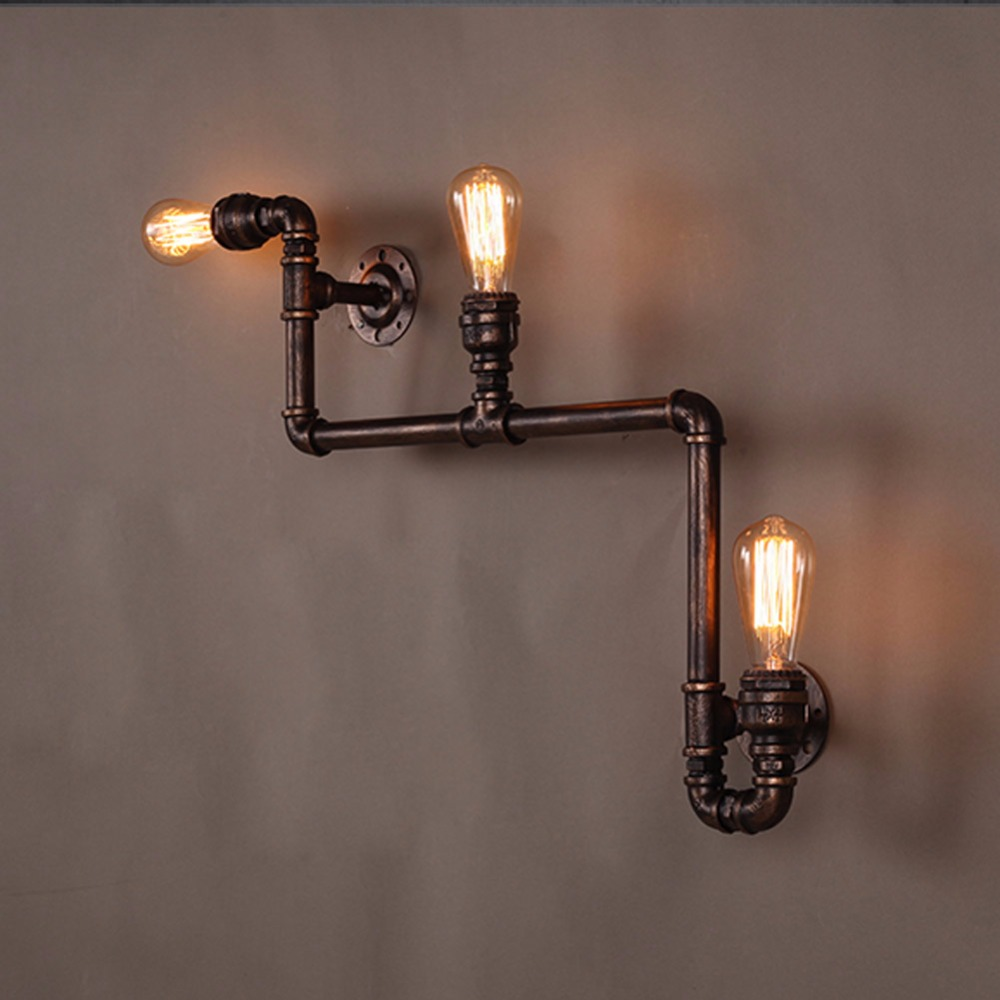 3 Heads Loft Industrial Wall Lamp Antique E27 Edison Bulbs Vintage Water Pipe Wall Lamp for Living Room Home Lighting loft industrial wall lamps antique edison wall lights e26 e27 110v 220v vintage pipe wall lamp for living room indoor lighting