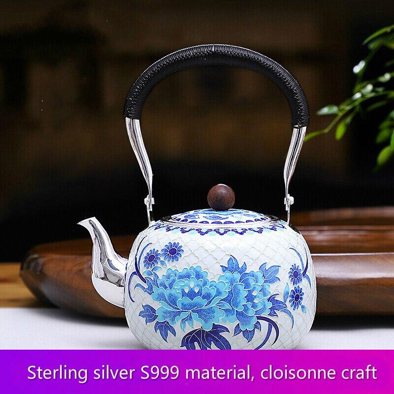 Peony Pure Silver 999 Silver Teapot Pure Hand-fired Kettle Silver Enamel Cloisonne Teapot Kung Fu Tea Set