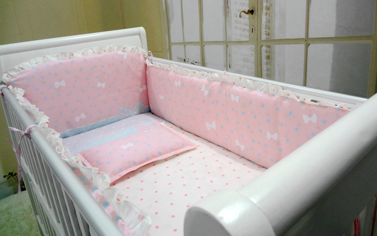ФОТО Promotion! 6pcs Pink bumpers for cot bed 100% Cotton Baby Bedding Set Good Quality Baby Bed Bumper ,(bumper+sheet+pillow cover)