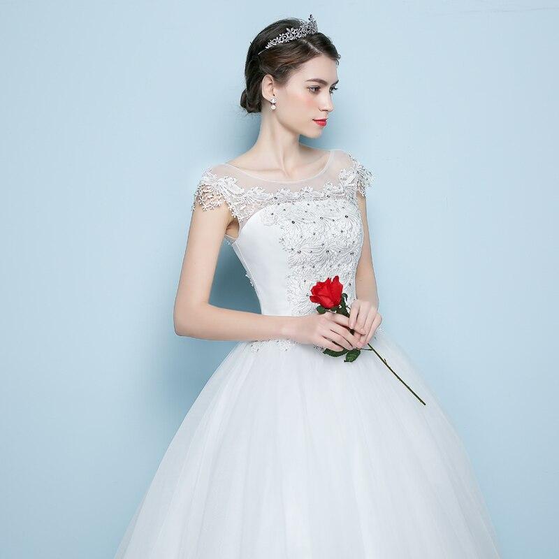 2018 Bollfärg Bröllopsklänning Blond Kroppspärlor Kortärmad - Bröllopsklänningar - Foto 4