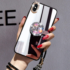 Mirror Rhinestone Makeup Women Case For Xiaomi Redmi Note 8 7 5 Pro 4X 5A 6A 5 Plus Case Glitter Diamond Finger Ring With Strap(China)