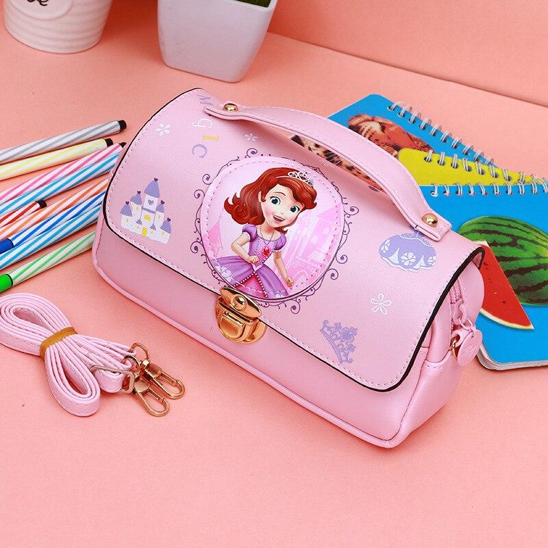 2018 New Cute Cartoon Princess Sophia Pupils Girl Diagonal Portable Stationery Package Pu Waterproof Pencil Box For Children kid s box 2ed 5 pupils bk
