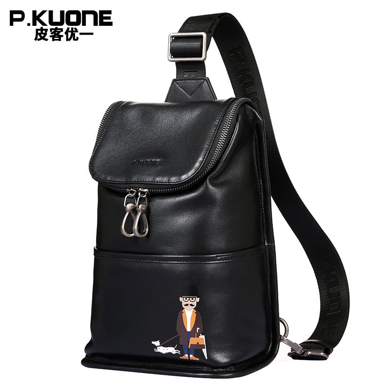 P.KUONE New Design Uncle Walk Dog Chest Pack Best Genuine Leather Hand bag Good Quality Chest Bag Travel Shoulder Cossbody Bag