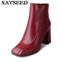 Shoes 2018 Genuine Leather High Heel Boots Black High Heels Red Boots Ankle For Women Waterproof