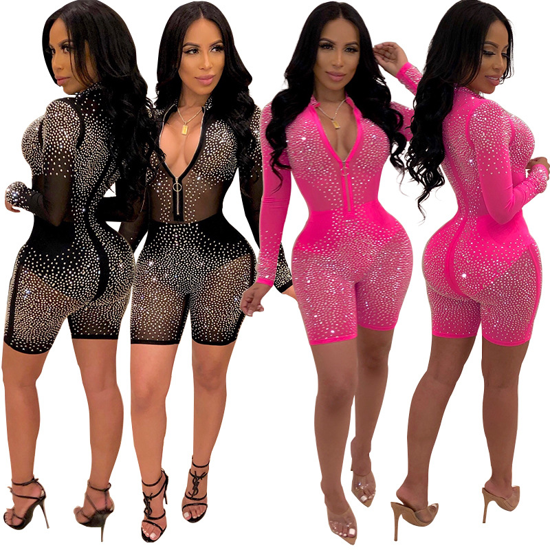 Sexy Women Mesh Glitter Rhinestones Playsuit Short Pants Summer Transparent Zipper Jumpsuit   Romper   2019 Long Sleeve Night Club