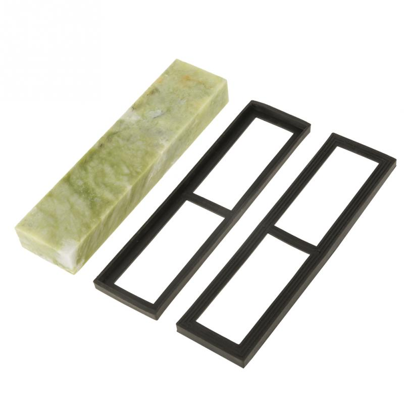 цены 1 Set Sharpening Stone Natural Emerald Knife Sharpening Stone 10000 Grit Whetstone Grindstone with Draining Base Abrasive Tools