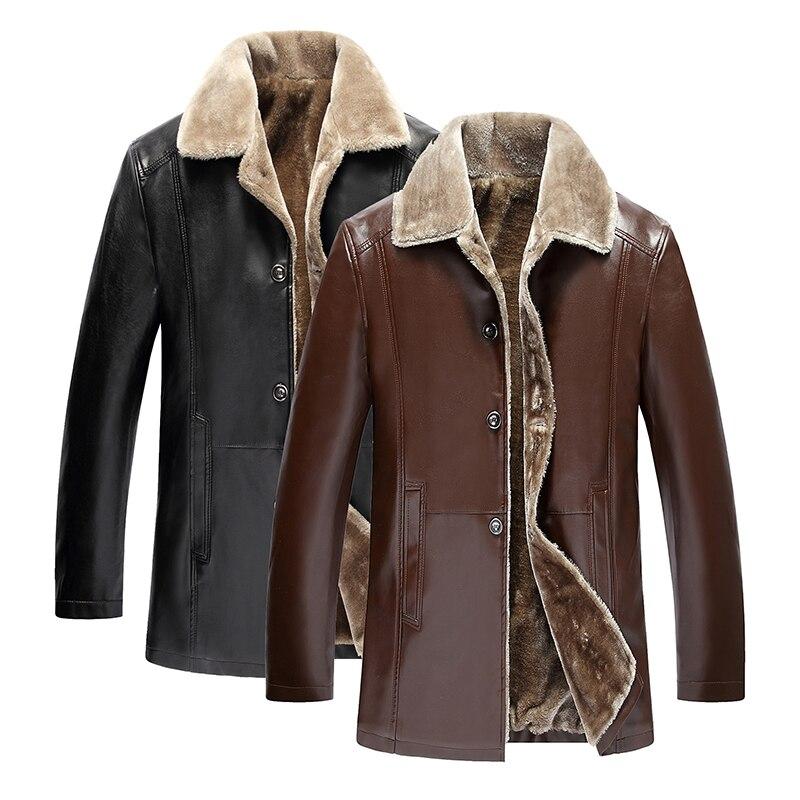 precio de calle elige mejor gran variedad de Details about Chaqueta de cuero para hombre Nueva moda Cálido Chaqueta  larga y abrigos Mejores