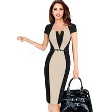 Лето, женское Ретро контрастное лоскутное платье с поясом, одежда для работы, деловое платье, офисное облегающее платье-карандаш, женское цельное платье, костюм
