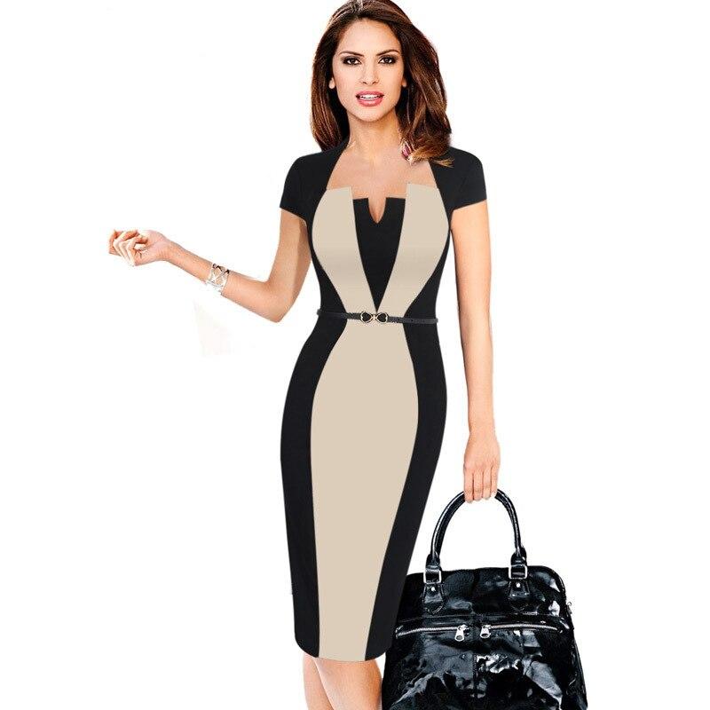 2018 Sommer Frauen Retro Kontrast Patchwork Gürtel Tragen Zu Arbeiten Geschäfts Vestidos Büro Bodycon Bleistift Weibliche Einteiliges Kleid Anzug Tropf-Trocken