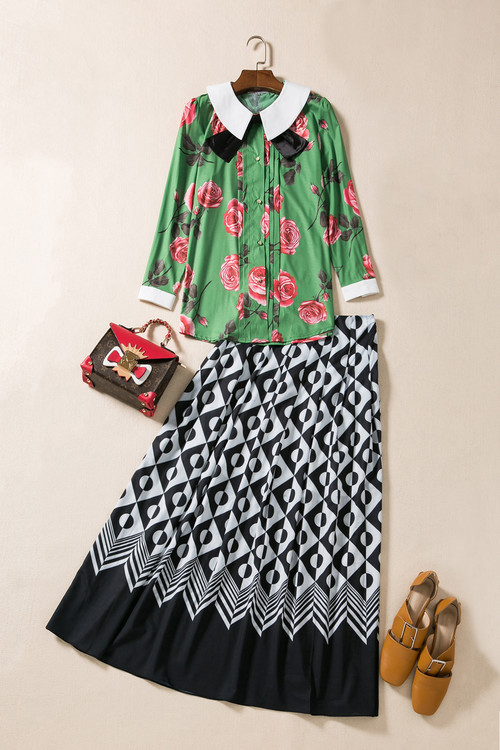 New Hot Sale Clothing Skirt Suit 2017 Spring Summer Women Peter Pan Collar Rose Flower Print Green Shirt+Long Maxi Skirt(1Set)